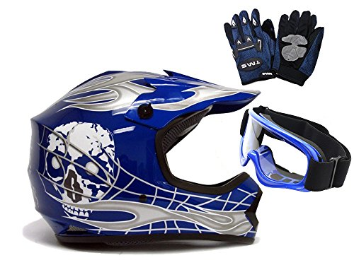 TMS Youth Kids BlueSilver Punk Dirt Bike Atv Motocross Helmet Mxgogglesgloves Medium