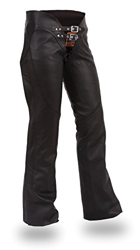 Ultimate Leather Apparel Ladies Low Rise Leather Motorcycle Chaps with Lacing on Back of Thigh XL Black