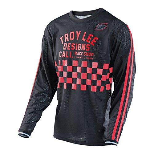 Troy Lee Designs Super Retro Check Mens BMX Bike Jersey - BlackRed  X-Large