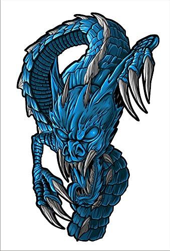 2 sticker set Blue Dragon 7 inch x 43 inch Motorcycle Sticker Honda CBR Kawasaki Ninja Yamaha YZF Harley Davidson Decal Set