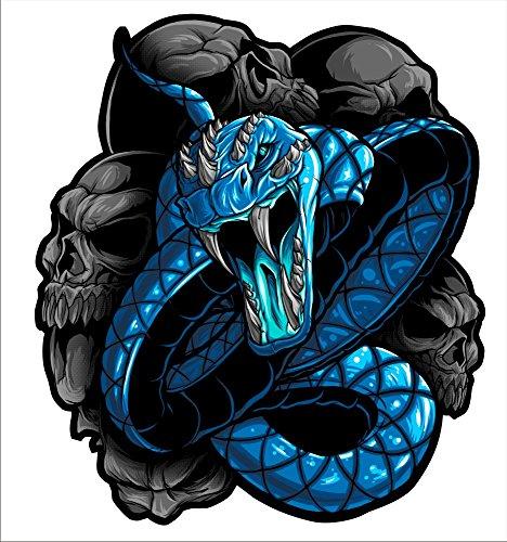 2 sticker set Blue Snake 5 inch x 5 inch Motorcycle Sticker Honda CBR Kawasaki Ninja Yamaha YZF Harley Davidson Decal Set