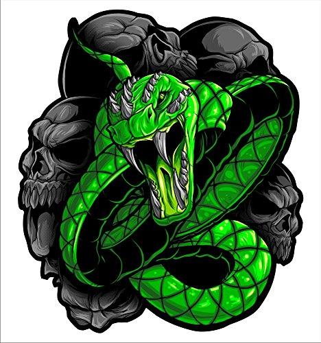 2 sticker set Green Snake 5 inch x 5 inch Motorcycle Sticker Honda CBR Kawasaki Ninja Yamaha YZF Harley Davidson Decal Set