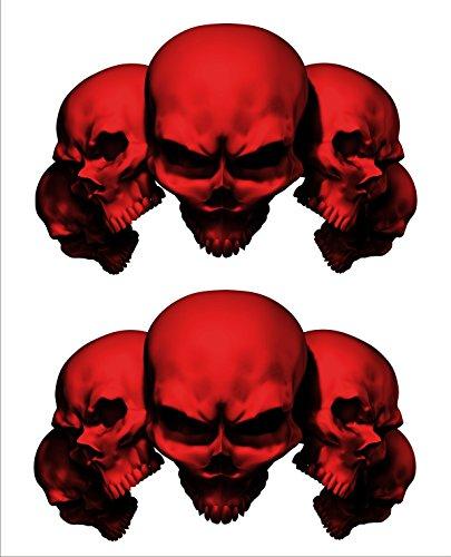 2 sticker set Red 5 Skull 7 in long x 45 in tall Motorcycle Sticker Honda CBR Kawasaki Ninja Yamaha YZF Harley Davidson Decal Set