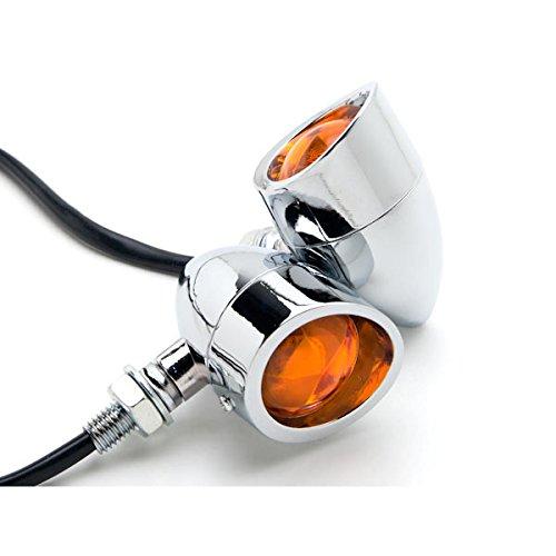 Krator Motorcycle 2 pcs Chrome Amber Turn Signals Lights For Honda VTX 1300 C R S RETRO