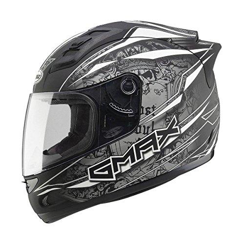 Gmax GM69 Mayhem Full Face Street Helmet Matte BlackSilverWhite XX-Large
