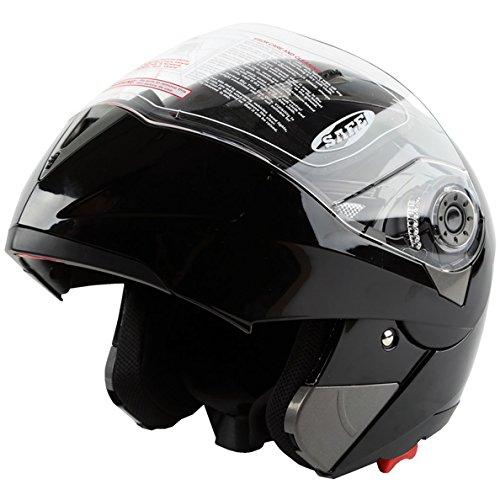 TCMT Adult Gloss Black Full Face Motorcycle Helmet DOT L