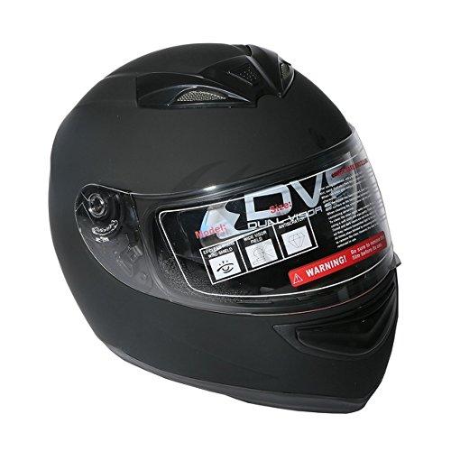 TCMT Adult Matt Black Full Face Motorcycle Helmet DOT L