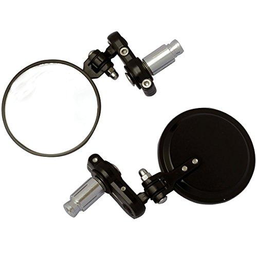 MotorToGo 3 Black Round Foldable Handle Bar Mirrors for 2007 Buell Firebolt XB12R
