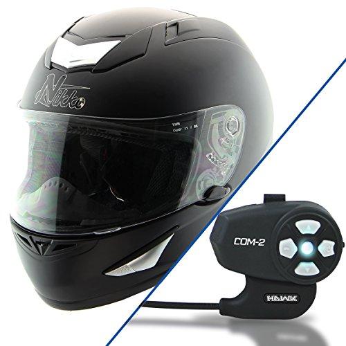 Nikko N917 Matte Black Full Face Helmet with Hawk COM-2 Bluetooth Motorcycle He - X-Large w COM-2 Intercom