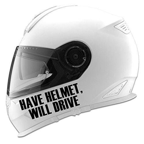 Have Helmet Will Drive Auto Car Racing Motorcycle Helmet Decal - 5 - Black