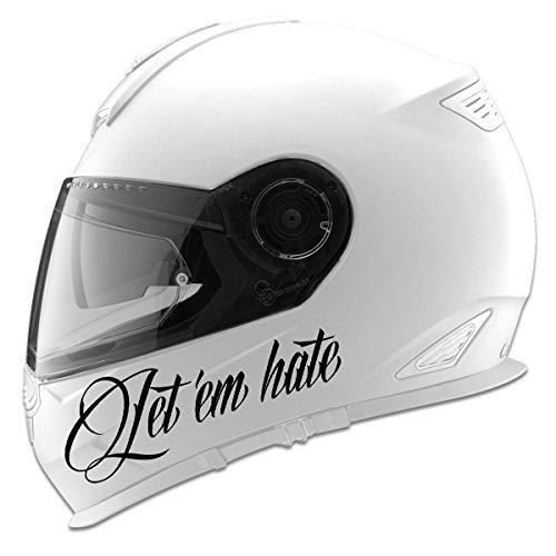Let Em Hate Auto Car Racing Motorcycle Helmet Decal - 5 - Black
