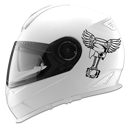 Piston with Angel Wings Auto Car Racing Motorcycle Helmet Decal - 5 - Black