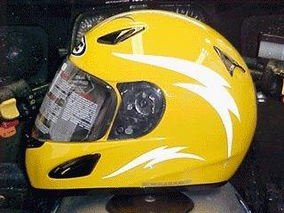Reflective Motorcycle Helmet Decal Kit - Lightning - White