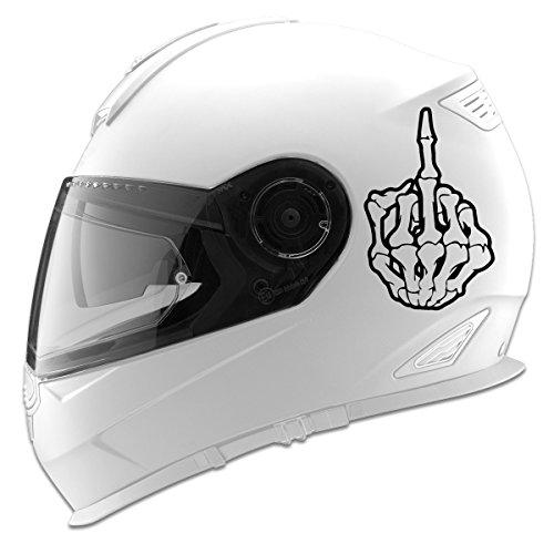 Skeleton Middle Finger Auto Car Racing Motorcycle Helmet Decal - 5 - Black