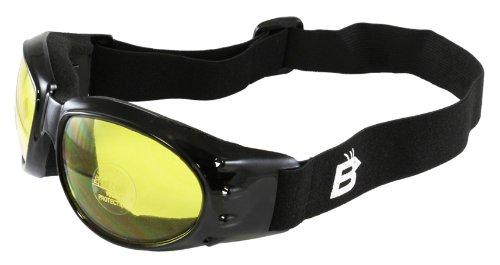 Birdz Eyewear Eagle Motorcycle Goggles Black FrameYellow Lens