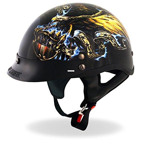 Hot Leathers DOT USA Eagle Motorcycle Helmet Glossy Medium