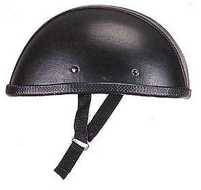 Novelty Leather Cover Eagle Motorcycle Helmet Black Low Profile Medium