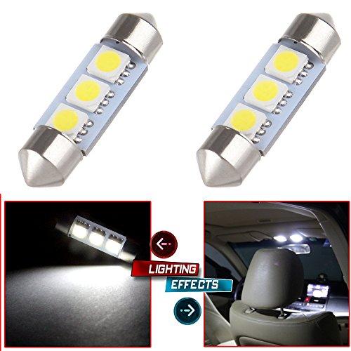 CCIYU 2x White 36MM 3-SMD 5050 Festoon LED Light Bulbs Lamp DE3423 DE3425 C5W for 2005-2012 Audi A3 8P Dome Light StepCourtesyDoor Light MirrorVanity Sunvisor Light License Plate Light