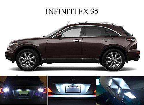 LED lights for 2009 - 2014 Infiniti FX 35 FX 45 Xenon White LED Package for License Plate  VanitySun Visor lights 6 Pieces