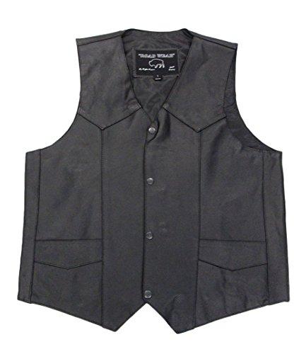 Buffalo Outdoors Mens Genuine Leather Biker Vest with Gun Pocket Black4X - Large