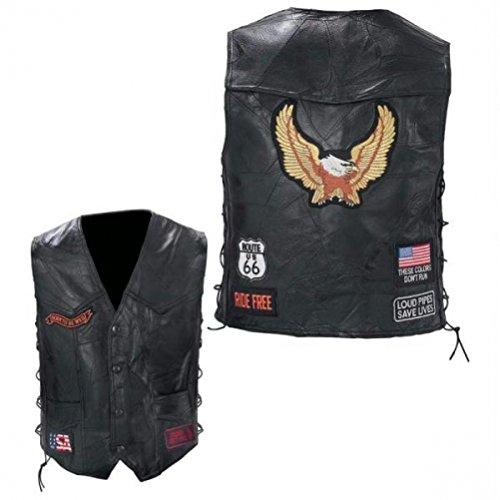 Diamond Plate™ Rock Design Genuine Buffalo Leather Biker Vest X-LargeBlack