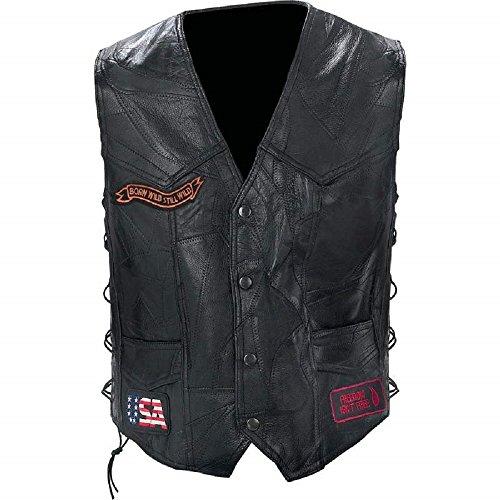 Diamond Plate™ Rock Design Genuine Buffalo Leather Biker Vest XL
