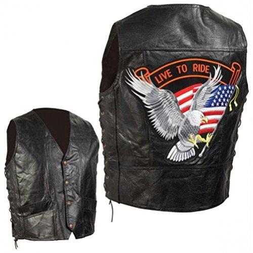 Diamond Plate Hand-sewn Pebble Grain Genuine Leather Biker Vest- 2x