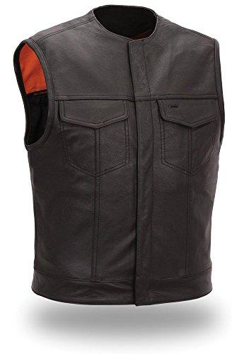 Mens Leather Biker Vest Concealed Snaps Black Size M