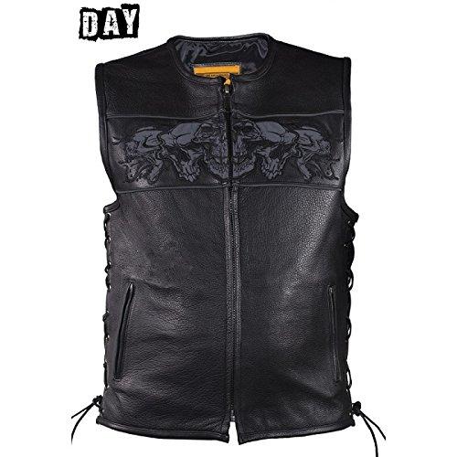 Mens Leather Biker Vest With Reflective Skulls Size L LG Large 44-46