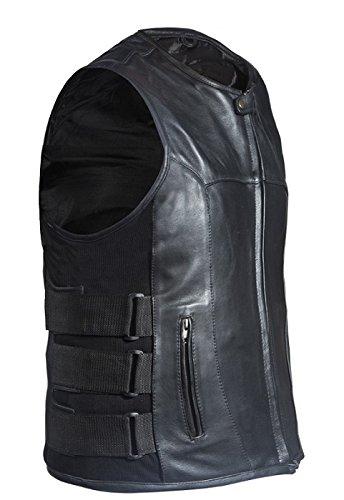 Mens Leather Biker Vests with Side Straps Size M MD Medium 40-42