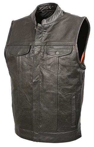 Mens SOA Leather Club Style Vest W PATCH ACCESS FEATURE Concealed Gun Pockets Premium Buffalo Leather Biker Vest Black 2X