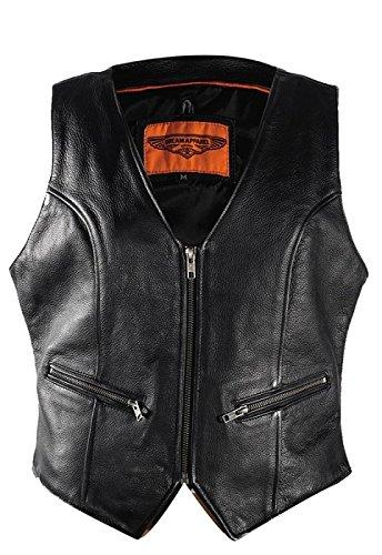 Womens Leather Biker Vest With Gun Pockets Size L LG Large 39