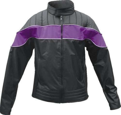 Ladies Purpleblack Textile Riding Jacket 100 Nylon Water Resistant w Reflector Stripes