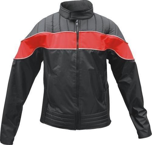 Ladies Redblack Textile Riding Jacket 100 Nylon Water Resistant w Reflector Stripes