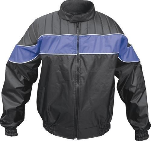 Mens BlueBlack Textile Riding Jacket 100 Nylon Water Resistant w Reflecto AL 2092 -2XL