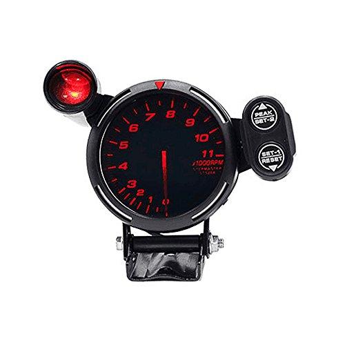 KKmoon 35 Inch Tachometer Gauge Kit Red LED 11000 RPM Meter with Adjustable Shift LightStepping Motor Black