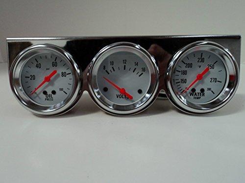 Universal 2 58 Chrome Oil Pressure Water Volt Triple 3 Gauge Set Gauges Kit