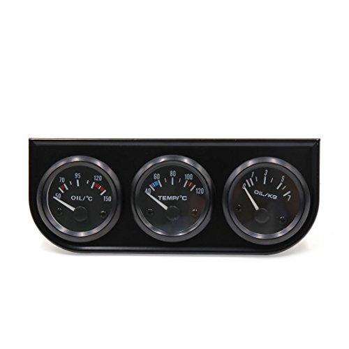 uxcell 52mm Oil Temp Water Temp Oil Pressure Triple Gauge Kit Car Pointer Meter