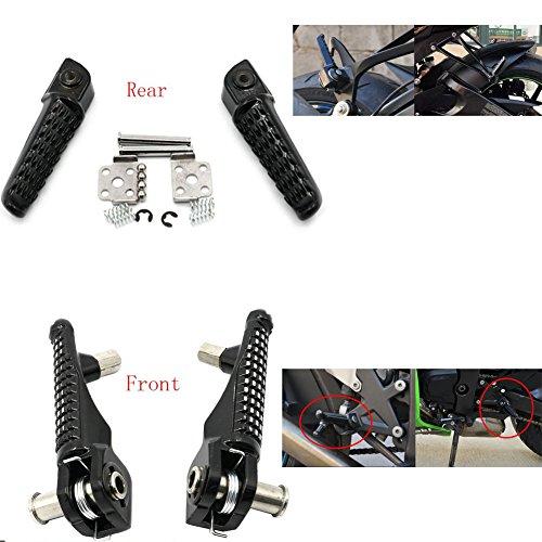 Alpha Rider Black Front Rear Foot Pegs Footrest Kit for Kawasaki ZZR1200 2002-2005  Z750 2007-2011  Z1000 2010-2012  Z1000 2007-2008  Ninja ZX9R 1999-2003 ZX900F