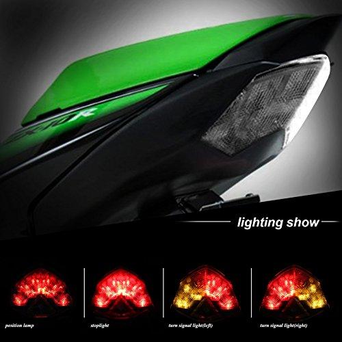 BSK Tail Light Integrated Turn Signals Brake Light Indicators for Kawasaki Ninja ZX-6RZX600 2009-2012ZX-10RZX1000 2008-2010Z750 2007-2012Z1000 2007-2009 Smoke Lens