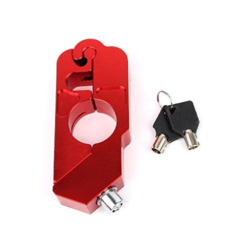 Bottone Handlebar Grip Lock Anti-theft Brake Lever Security Lock Throttle Grip Lock for Motorcycle Scooter ATV Red