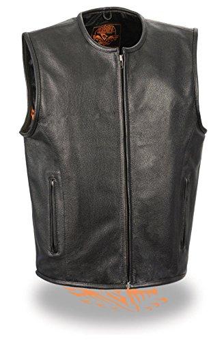 Mens Motorcycle Seamless Design Blk Riding Leather Vest W Zipper Plain GUNPOCKETRegular XL