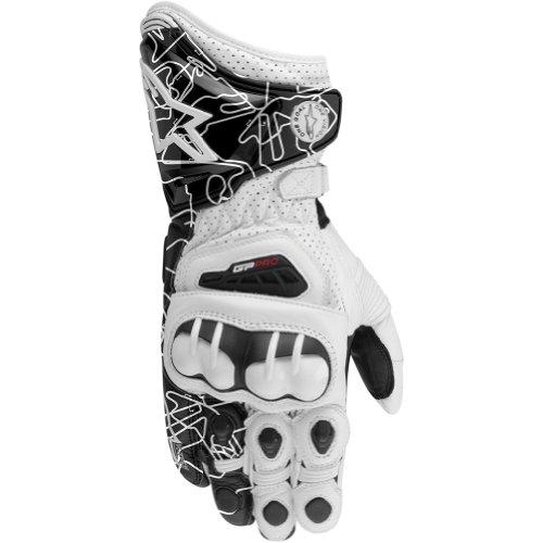 Alpinestars Gp Pro Men's Leather Street Racing Motorcycle Gloves - White/black / 2x-large