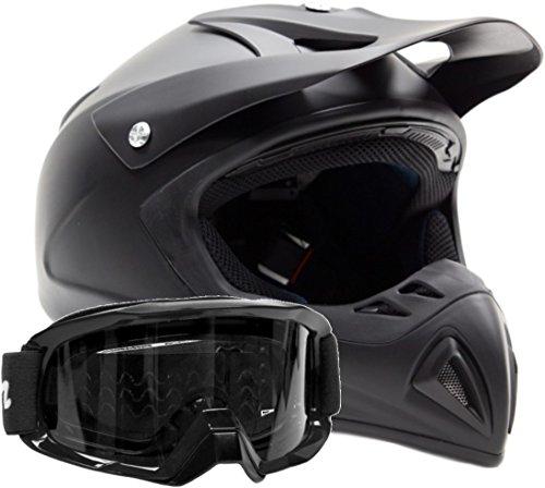 Adult Offroad Helmet Goggles Gear Combo Black w Black  Large