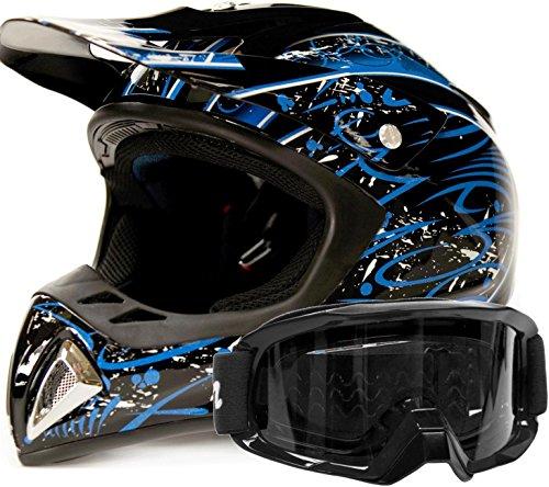 Adult Offroad Helmet Goggles Gear Combo Blue w Black  XL