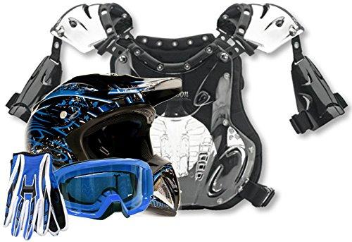 Adult Offroad Helmet Goggles Gloves Chest Protector GEAR COMBO Motocross ATV Dirt Bike BLUE Splatter  Small