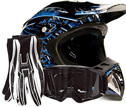 Adult Offroad Helmet Goggles Gloves Gear Combo Black Blue Splatter  Medium