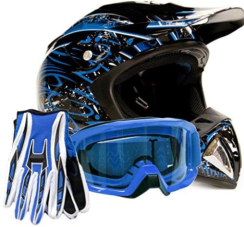 Adult Offroad Helmet Goggles Gloves Gear Combo Blue Splatter  Medium