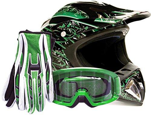 Adult Offroad Helmet Goggles Gloves Gear Combo Green Splatter  Medium