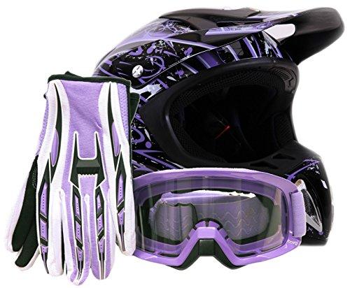 Adult Offroad Helmet Goggles Gloves Gear Combo Purple Splatter  Large